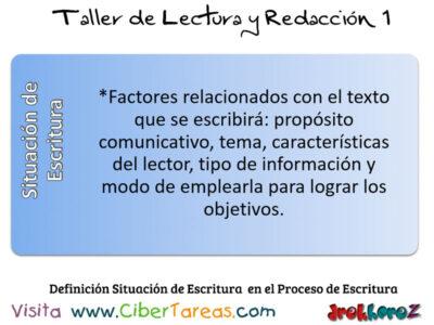 DefinicionSituacion de Escrtura en el Proceso de Escritura Taller de Lectura y Redaccion