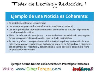 Ejemplo de una Noticia es Coherente en Prototipos Textuales Taller de Lectura y Redaccion