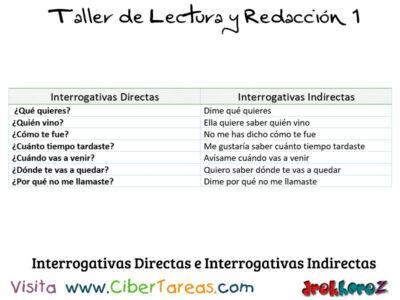 Interrogativas Directas e Interrogativas Indirectas Taller de Lectura y Redaccion